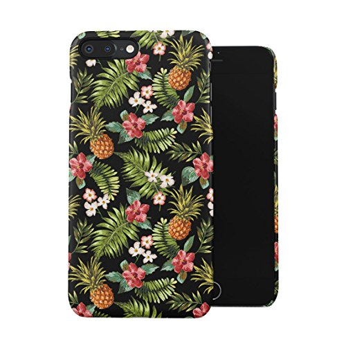 Tropical Pineapple, Hibiscus Flowers & Tropical Jungle Pattern Plastic Phone Snap On Back Case Cover Shell For iPhone 7 Plus & iPhone 8 Plus (Jungle Pineapple)