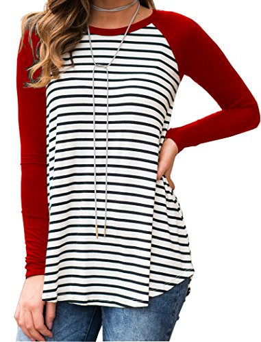 Halife Womans Raglan Long Sleeve Shirt Striped Casual Round Neck Tops Tee Red XL