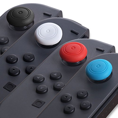 4 PCS Silicone Analog Joystick Thumb Stick Grip Thumbstick Cap Cover for Nintendo Switch NS Joy-Con (Black) by Lucky Dog (Image #1)