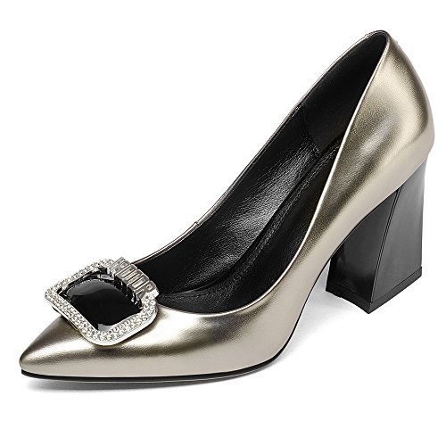 Color Leather Clubbing Chunky Heel Pointed Seven Women's Toe Gun Shoes Party Pumps Nine Handmade Fashion Patent fZpawxq
