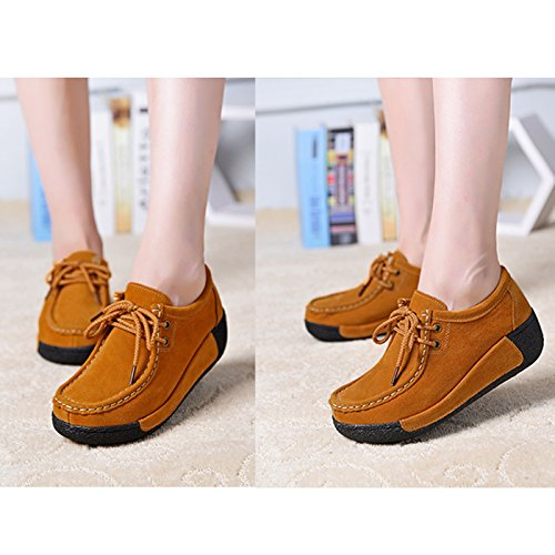 CHNHIRA Women's Slip-On Breathable Air Wedge Shoes Platform Thick Bottom Increased Shoes Brown drq5XVid