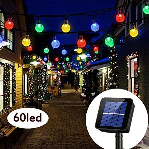 Solar String Lights Garden 60LED Waterproof Fairy Lights 8 Modes Outdoor Starry Lights Solar Powered String Light for Yard Home Party Wedding Decoration (Multicolor)