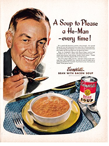 Campbell Art Deco Print - 1949 Campbell's Bean With Bacon Soup-Original 13.5 * 10.5 Magazine Ad-Please A He Man