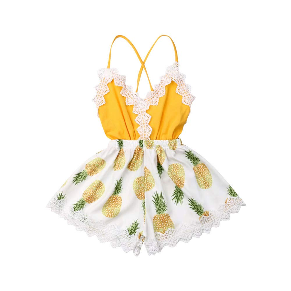 Toddler Baby Girl Sunflower Lace Trim Halter Romper Jumpsuit Backless Bodysuit Outfit One Piece Summer Clothes