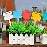 10PCS Plastic Garden Labels for Plants Waterproof T-Type Flower Nursery Tag Reusable Markers for Orchards Gardens Farms 18x 6.5cm (Green)