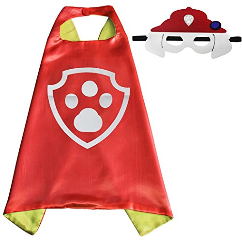 Whoopgifts Superhero Costumes Satin Cape with Felt Mask For Kids, 70cm x 70cm (Marshall) (Marshall Paw Patrol Costume)