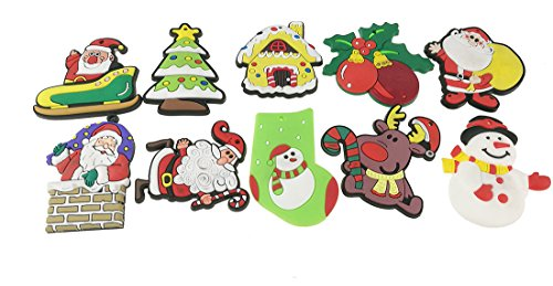 Snowman Refrigerator Magnet (10pcs Cute Funny Santa Claus Christmas Theme Soft Rubber Refrigerator Toy Fridge Stickers Gift Kids Room Decoration)