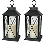 Black Decorative Lantern with Cross Bar Design