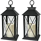 """BANBERRY DESIGNS Black Decorative LED Lantern with Cross Bar Design - Pillar Candle with 5 Hour Timer Included - Hanging or Sitting Decoration - Set of 2-13"""" H"""