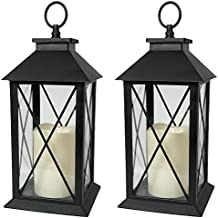 "Black Decorative LED Lantern with Cross Bar Design - Pillar Candle with 5 Hour Timer Included - Hanging or Sitting Decoration - Set of 2-13"" H"