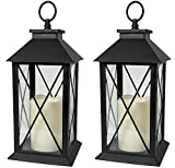 "Black Decorative LED Lanterns with Cross Bar Design - Pillar Candle with 5 Hour Timer included - Hanging or Sitting Decoration - Set of 2-13"" H"