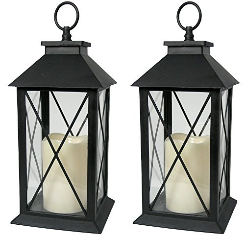 Black Decorative LED Lanterns with Cross Bar Design - Pillar Candle with 5 Hour Timer included - Hanging or Sitting Decoration - Set of 2 - 13