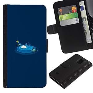 """A-type (Submarino UFO"""") Colorida Impresión Funda Cuero Monedero Caja Bolsa Cubierta Caja Piel Card Slots Para Samsung Galaxy S5 Mini (Not S5), SM-G800"""