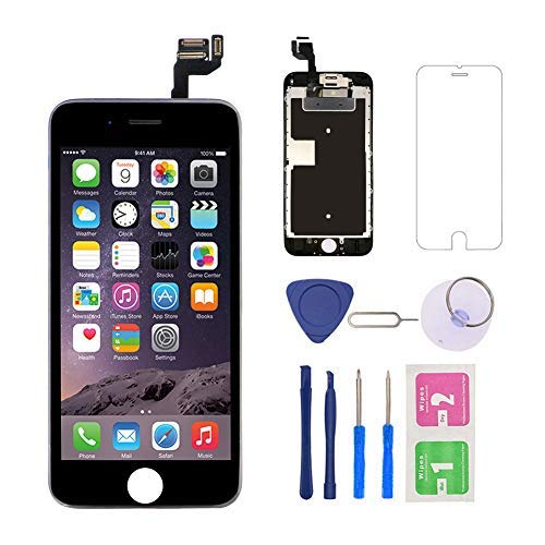 - for iPhone 6S Screen Replacement (Black) with Front Camera, 3D Touch Screen Digitizer Frame for A1633, A1688, A1700 Full Assembly with Ear Speaker- Proximity Sensor-Repair Tool Kits-Screen Protector
