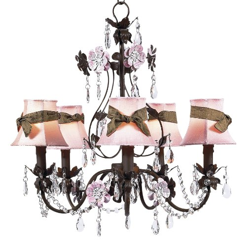 Jubilee Collection 7486-2412-309 5 Arm Mocha/Pink Flower Garden Chandelier with Plain Pink Shade and ()
