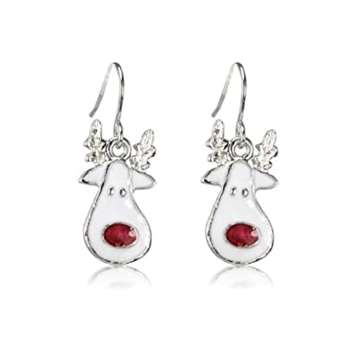New Rudolph SPARKLY Christmas Earrings - Gift Bag - Rhodium Plated ...