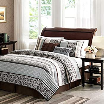 Image of 5 Piece Blue Black Brown White Southwest Coverlet King Set, Native American Southwestern Bedding, Horizontal Tribal Stripes Geometric Motifs Lodge, Indian Themed Pattern, Aztec Western Colors Home and Kitchen