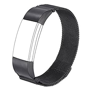 For Fitbit Charge 2 Bands, Wearlizer Milanese Loop Replacement Strap Stainless Steel Bracelet for Fitbit Charge 2 Heart Rate Fitness Wristband Black Large/ Small/Silver/Gold/RoseGold/Pink