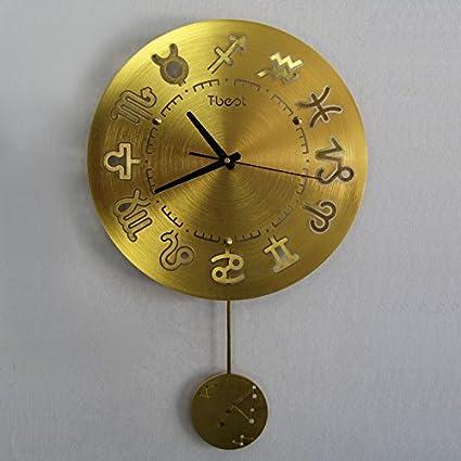 Vinteen Reloj de Pared Mediterráneo Sala de estar Moderno Simple Reloj de bolsillo Doce Constelación Reloj
