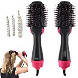 Hot Air Brush One Step Hair Dryer & Volumizer, 3-in-1 Hair Dryer Brush Styler for Salon Negative Ion Ceramic Electric Blow Dryer Rotating Straightener Curl Brush with Three Pearl Hairpin