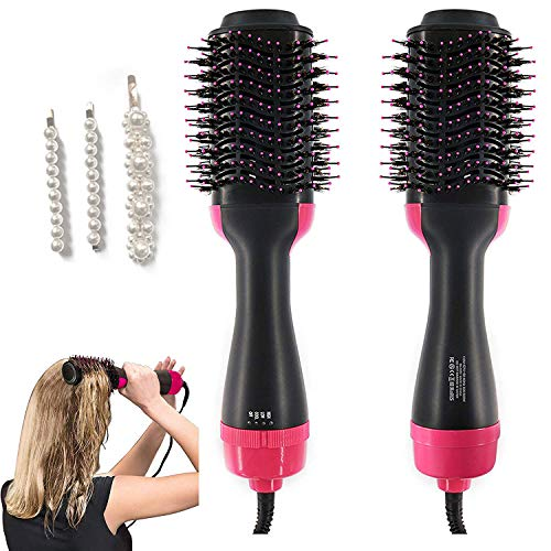 Hot Air Brush One Step Hair Dryer & Volumizer, 3-in-1 Hair Dryer Brush Styler for Salon Negative Ion Ceramic Electric Blow Dryer Rotating Straightener Curl Brush with Three Pearl Hairpin (Best Budget Curling Iron)