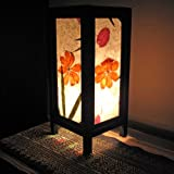 Mulberry Paper Wood Frame Table Lamp (Lantern), Approx. 5''L x 5''W x 8''H, Approx. 56''L Electric Cord, Fully Assembled & Bulb included