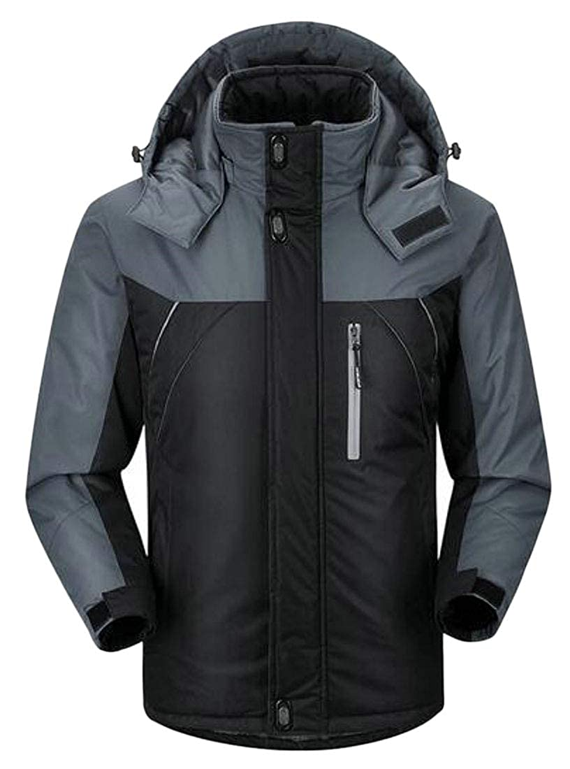 Fubotevic Mens Fleece Hoodie Soft Shell Winter Outdoor Thicken Quilted Jacket Coat Outerwear