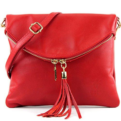 borsa di pelle ital. pochette pochette borsa tracolla Ragazze T139 piccola pelletteria, Präzise Farbe (nur Farbe):T139A Rot