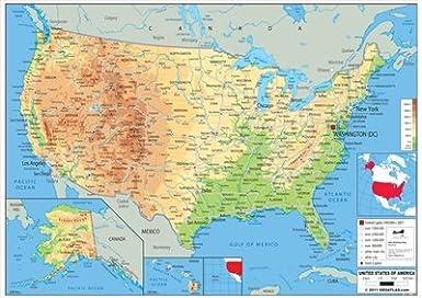 La Cartina Geografica Degli Stati Uniti.Wildgoose Istruzione Wg3526 Usa Mappa Fisica 84 Cm X 59 Cm Amazon It Commercio Industria E Scienza
