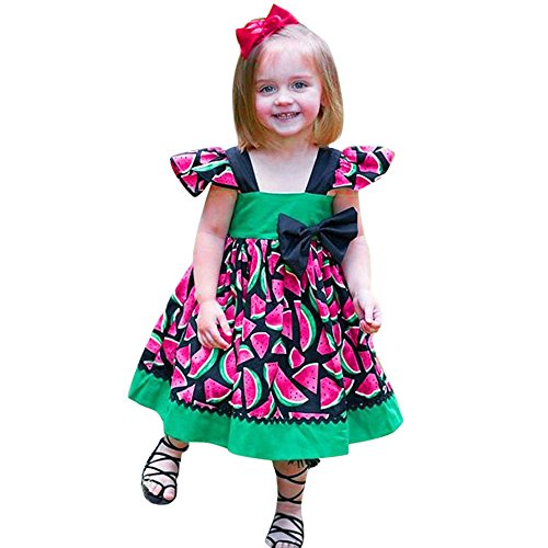 Birdfly Toddler Infant 1-3T Baby Girl Watermelon Pattern Cute Ball Gown Dress with Bowknot. (24M, Green) -