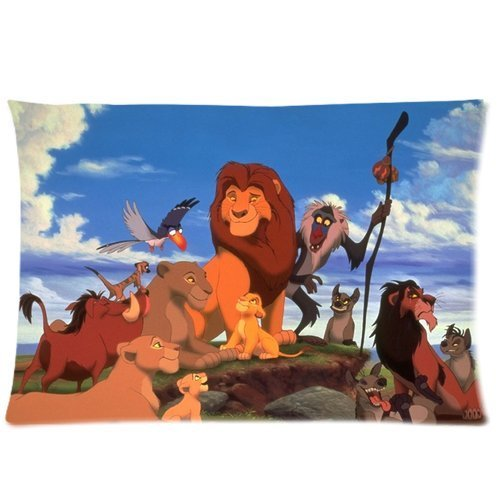 ZhouBrand Soft Zippered Pillowcase Pillow case Cover 20*30 Inch (Twin sides) Cartoon The Lion King Pattern Fashion Design