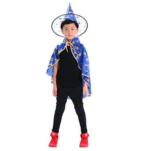 amazoncom halloween costumes witch wizard cloak with hat for kids children boys girls halloween props set blue clothing