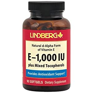 Lindberg E-1,000 IU Plus Mixed Tocopherols, Natural d-Alpha Form of Vitamin E (90 Softgels)