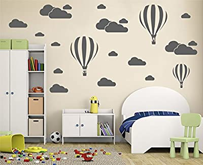 Melissalove Giant Removable Vinyl 3D Hot air Balloons with Clouds Wall Decals DIY Wall Stickers Nursery Decor Kids Bedroom art Decoration Girls Rooms Decal Child Sticker Home Walls Decal (White) D952