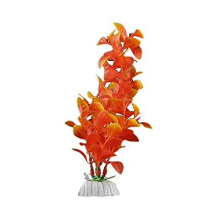 Planta Artificial Decoración Acuarios Pecera Estanque Naranja Decorativo