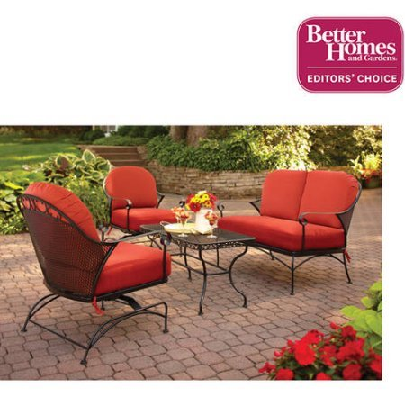 Better Homes and Gardens Clayton Court 4-Piece Patio Conversation Set,BH12-092-001-02 Seats 4 Red