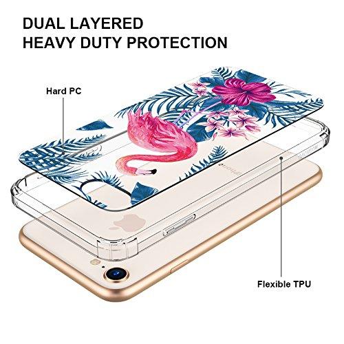 MOSNOVO Carcasa iPhone 7 / iPhone 8 TPU Funda Cubierta de Silicona de ultra delgado impresión de estuche Silicona Carcasa Trasera Para iPhone 7 iPhone 8 Transparente (Palm Leaves) Tropical Flamingo