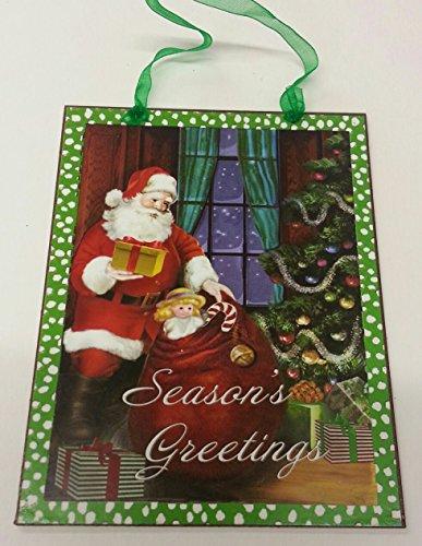 Giftcraft Rustic Tin Santa Sign Ornament (Seasons Greetings)