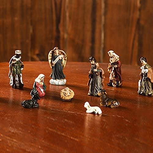 yasu7 11Pcs Born in Bethlehem Nativity Set Nativity Sets for Christmas Indoor Decor,Holy Family Nativity Scene