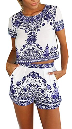 Papijam Women's Short Sleeve Print 2 Pieces Outfit Crop Top+Short Pants White (Cheap Party Outfits For Womens)