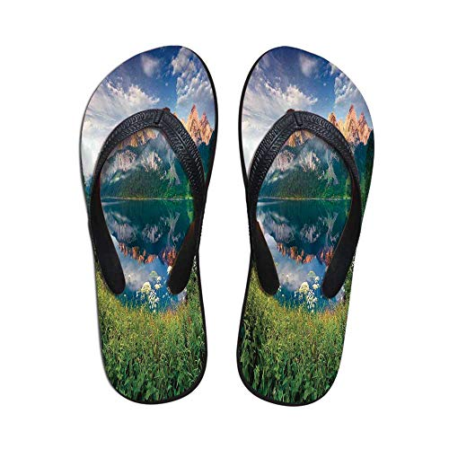 Apartment Decor Wear Resisting Flip Flops,Sunny Summer Morning on The Lake Austrian Alps Crystal Mirroring Water Fairy Season Photo for Indoor & Outdoor,US Size 5