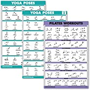 3 Pack: Yoga Poses Volume 1 & 2 + Pilates Exercises Poster Set - Set of 3 Workout Ch