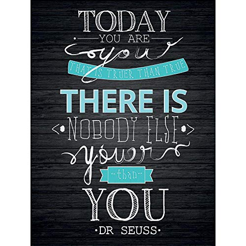 Wee Blue Coo Today You are Youer Dr Seuss Typography Motivation Quote On Black Unframed Wall Art Print Poster Home Decor Premium]()