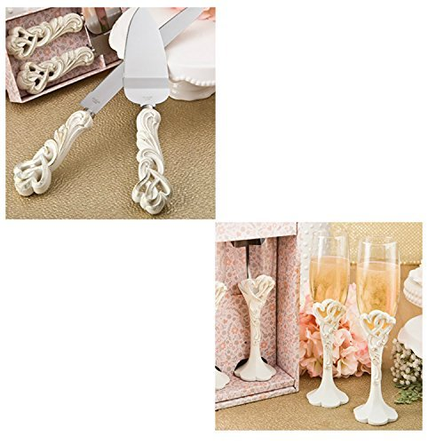 Fashioncraft Vintage Double Heart Design Wedding Cake Knife And Server Set with Toasting Glass Flute Set, Ivory by Combined Brands