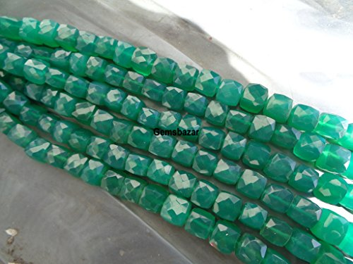 8mm Faceted AAA Natural Green Onyx Cube Beads, 8 Inches Long Strand Faceted Green Onyx