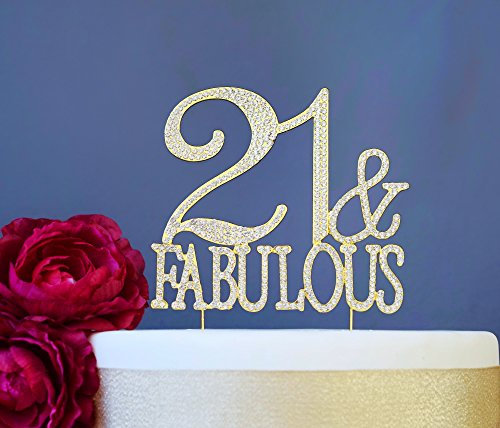 21 And Fabulous Gold Cake Topper   Premium Sparkly Crystal Rhinestones   21St Birthday Party Decoration Ideas   Quality Metal Alloy   Perfect Keepsak  21 Fab Gold