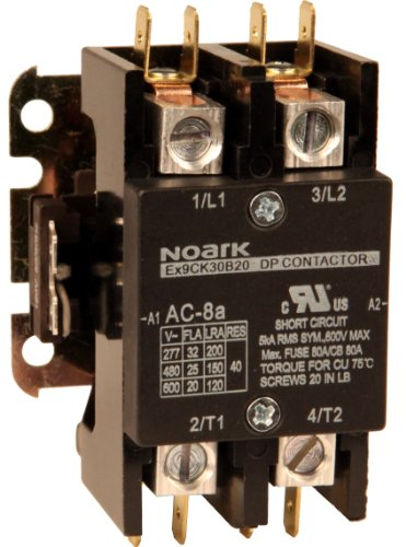 - NOARK Electric Ex9CK30B20G7 Definite Purpose Contactor, Lug Terminals with Quick Connect Spades, 30 amp, 2 NO, 120V Coil