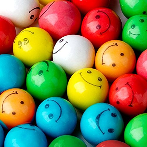 Face Outs Smiley (Smiley Face Gumballs Gum Balls Assorted Colors & Flavors 2 Pounds-FRESH)
