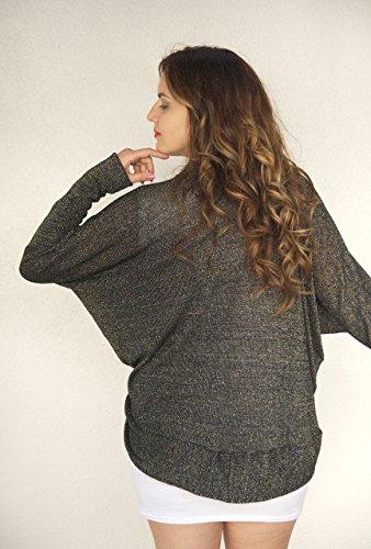 Super Cozy Black Gold Silver Shawl Kimono Cardigan, Metallic Sweater, Street Kimono, Special Occasion Cardigan Sweater. ONE Size (S-XL) by Kimonology