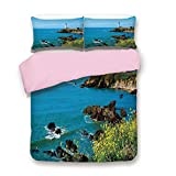 California King Vs King Bed Size iPrint Pink Duvet Cover Set,King Size,Pigeon Point Lighthouse in California Romantic Shoreline Waves Wildflowers Horizon,Decorative 3 Piece Bedding Set with 2 Pillow Sham,Best Gift for Girls Women,